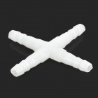 Plastic Cross Shape 4-way Aquarium Air Tube Pump Adapter Connectors - White (10 PCS)