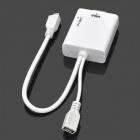 Micro USB Male to VGA Female + Audio MHL Adapter Cable for Samsung / HTC - White