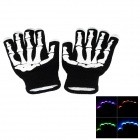 Y-786 Color Changing LED Flashing Fingertip Gloves - Black + White (Pair / 2 x CR2032)