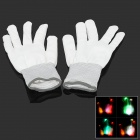 Y-786 Color Changing 5-LED Flashing Gloves - White (Pair / 2 x CR2032)
