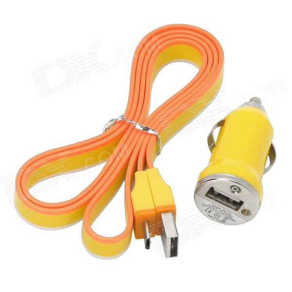 Car Power Charger + USB Male to Micro USB Male Data & Charging Flat Cable - Orange + White + Yellow janse football foot style 15w dual usb eu plug power charger car charger white