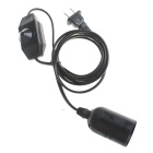 KDDS08 E27 LED Light Dimmer Extending Cable w/ Switch - Black (1.8m)