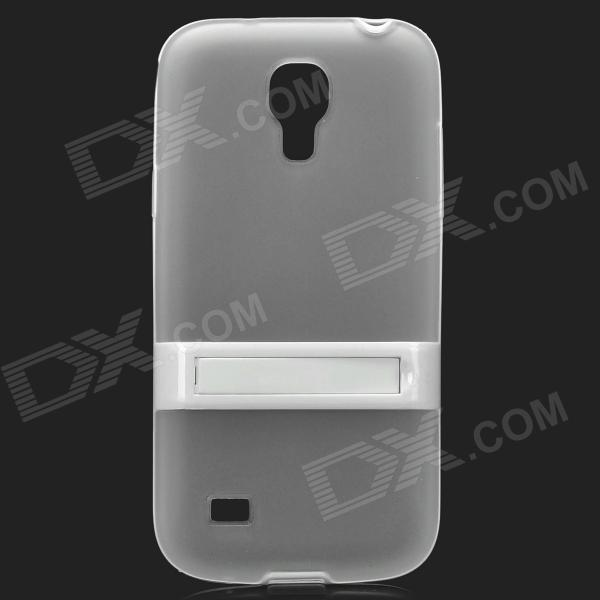 Protective Silicone Back Case w/ Flip Stand for Samsung i9190 Galaxy S4 Mini - Transparent White protective silicone case for nds lite translucent white