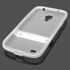 Protective Silicone Back Case w/ Flip Stand for Samsung i9190 Galaxy S4 Mini - Transparent White