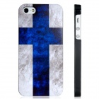Finnish Flag Print Matte Protective Plastic Back Case for Iphone 5 - Blue + White