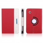 ENKAY Jean Style PU Leather Case w/ Holder for Samsung Galaxy Tab P3100 / P3110 - Red + White