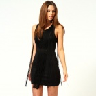 LC2720 Fashionable Tassel Sleeveless Bodycon Dress for Woman - Black (Free Size)