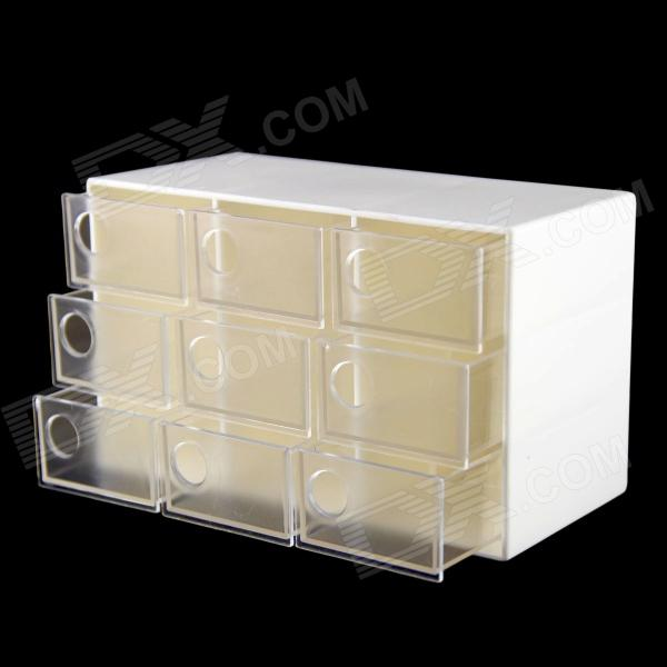 YN SD-3601 Multifunctional 9 Transparent Drawers Storage Box Jewelry & Tool Box - White free shipping wooden tool box desk storage drawer debris cosmetic storage box bin jewelry case office creative gift home