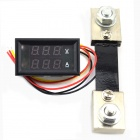 MiNi 0-100V/100A Digital DC Voltage Current Measurement w/ Red+Blue LED Dual Display / Shunt