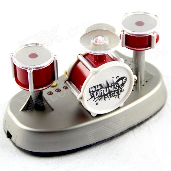 SLW-866 Dark Red Mini Finger Touch Jazz Drums Music Game Set - Red + Silver (3 x AAA)