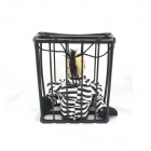 Shaking Skeleton In A Cage Doll Toy w/ Sound Effect - Black (3 x AA)