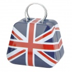 UK Flag Pattern Tin Plate Storage Case - White + Red + Blue