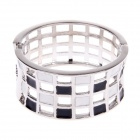 Fashionable Hollow out Style Shiny Rhinestone Wide Bracelet - White + Black + Silver