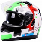 Tanked T-122A Double Lens Anti-Dazzle Deceleration Helmet - Green + Red + White + Black (Size-XL)