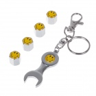 YONGXUN Replacement Aluminum Alloy Car Tire Valve Caps w/ Keyring - Silver + Black + Yellow (4 PCS)