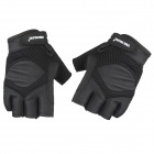FREE SOLDIER Outdoor Cycling Anti-slip PU Half-finger Gloves - Black (Pair / Size L)