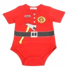Doomagic Firemen Style Cotton Rompers for Kids - Red