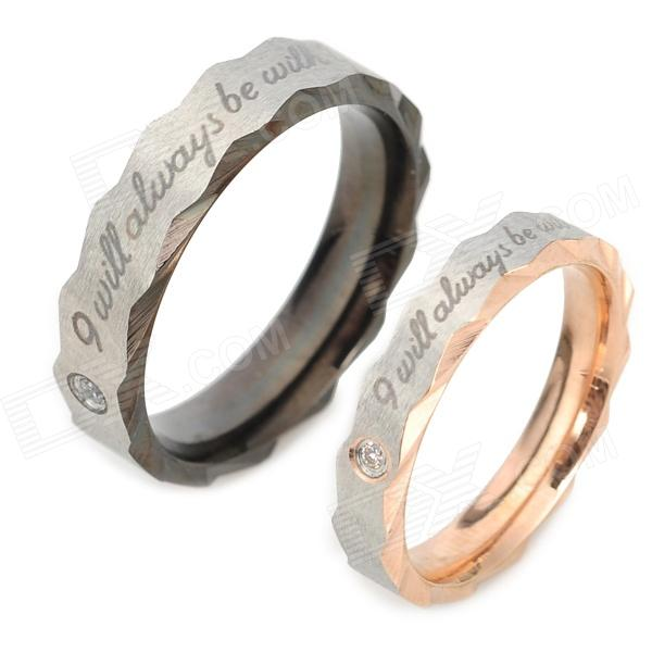Titanium Steel w/ Rhinestones Couple Rings - Silver (Size 9 + 7 / 2 PCS)Rings<br>Quantity2Form  ColorSilverMaterialTitaniumGenderMenSuitable forCoupleU.S Size 4Ring Diameter19mmRing Circumference60mmPacking List2 x Rings<br>