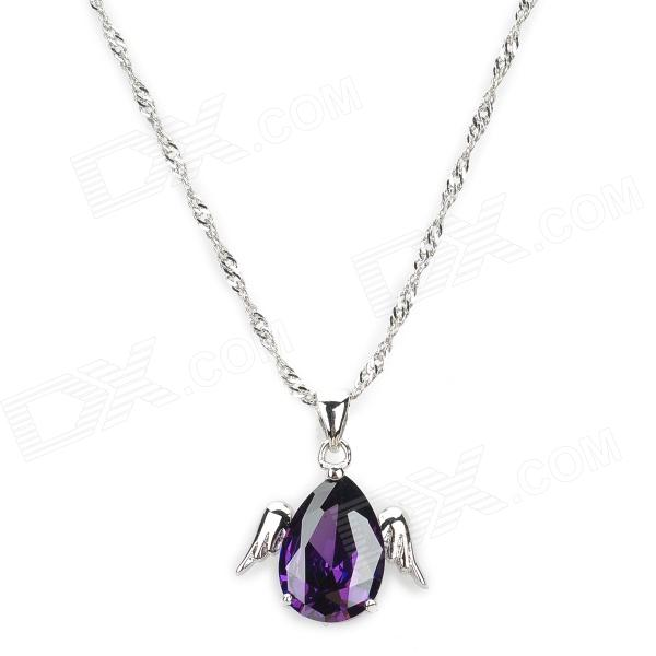 Angel Wings Style Platinum Plated + Crystal Pendant Necklace for Women - Silver + Purple fashion women s angel wing style necklace w colorful crystal golden