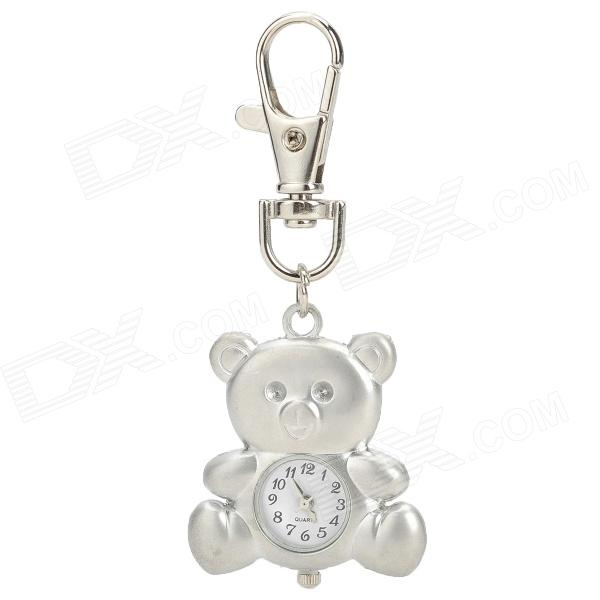Bear Style Aluminum Alloy Quartz Analog Keychain Watch - Silver