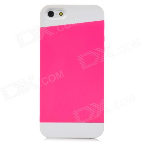Stylish Protective TPU Back Case for Iphone 5 - Deep Pink + White stylish flexible tpu protective back case for samsung galaxy s4 mini i9190 deep pink