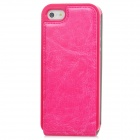 Protective Flip-Open PU Leather Case for Iphone 5 - Deep Pink
