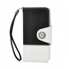 Stylish Protective PU Leather Case for Iphone 5 - Black + White