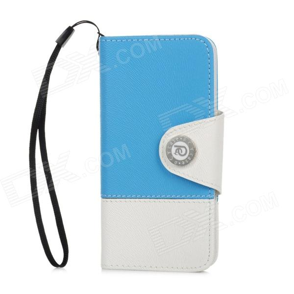 Stylish Protective PU Leather Case for Iphone 5 - Blue + White zs002 protective pu leather case for iphone 5 white blue green