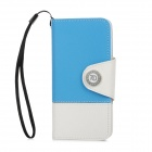 Stylish Protective PU Leather Case for Iphone 5 - Blue + White