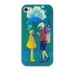 Couple Style Protective Plastic Back Case for iPhone 4 / 4S - Green
