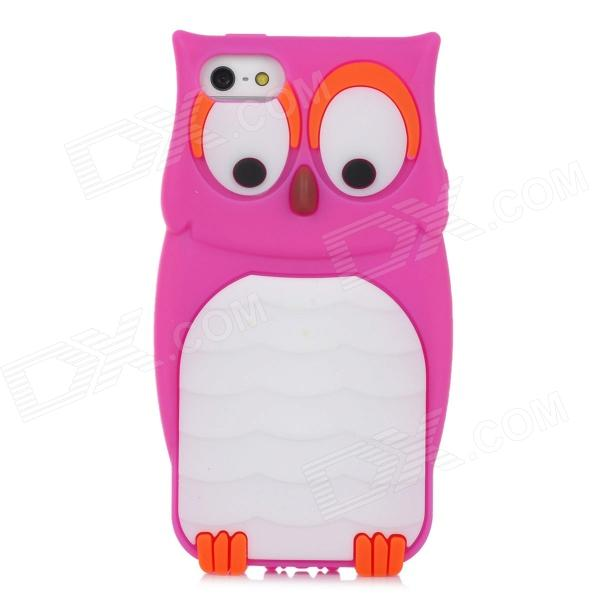 Cute Owl Style Protective Silicone Back Case for Iphone 5 - Deep Pink cartoon pattern matte protective abs back case for iphone 4 4s deep pink