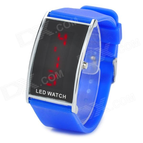 Rectangle Rubber Band LED Digital Wrist Watch - Blue