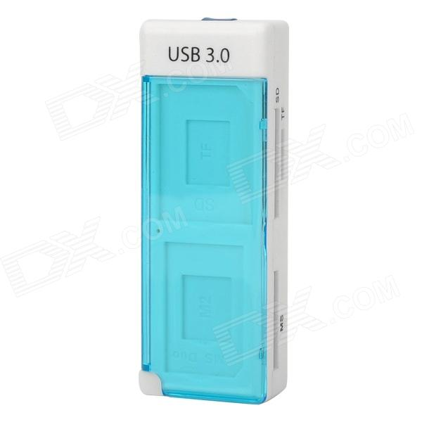 High Speed USB 3.0 MS / SD / M2 / Micro SD Card Reader - White + Translucent Blue ssk scrm056 usb 3 0 5gbps high speed multifunctional card reader white silver grey max 64gb
