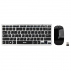 Qisan D1000 2.4GHz Wireless 78-Keyboard + Mouse Set - Black + Silver (2 x AAA + 2 x AAA)