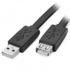 USB 2.0 Male to Female Extension Flat Cable - Black (150cm)