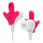 Cute Finger Posture Style In-ear Earphone w/ 3.5mm Plug - Deep Pink + White