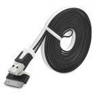 S-30 USB 2.0 Male to 30-Pin Flat Data Charging Cable for iPhone 4 / 4S / iPad 3 - Black + White