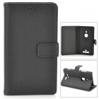 Protective Flip-open PU Leather Case for Nokia 925 - Black