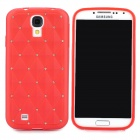 Stylish Crystal-inlaid Diamond Pattern Protective Silicone Back Case for Samsung Galaxy S4 - Red