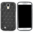 Stylish Crystal-inlaid Diamond Pattern Protective Silicone Back Case for Samsung Galaxy S4 - Black