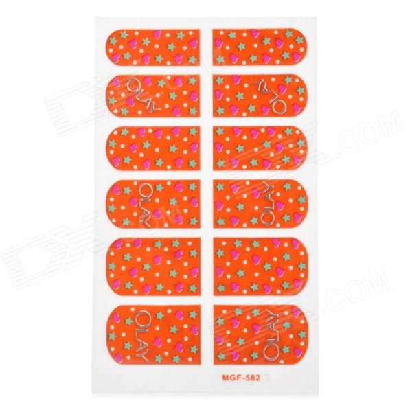 MGF582 Decorative Nail Art Foil Stickers - Orange + Multicolored 1pcs water nail art transfer nail sticker water decals beauty flowers nail design manicure stickers for nails decorations tools