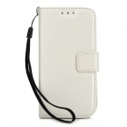 Protective PU Leather Case w/ Card Slot for Samsung Galaxy S4 Mini - White