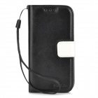 Protective PU Leather Case w/ Card Slots for Samsung Galaxy S4 Mini - Black + White