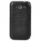 Pudini Fashionable Flip-open Protective PU Leather Case for Samsung i8552 - Black