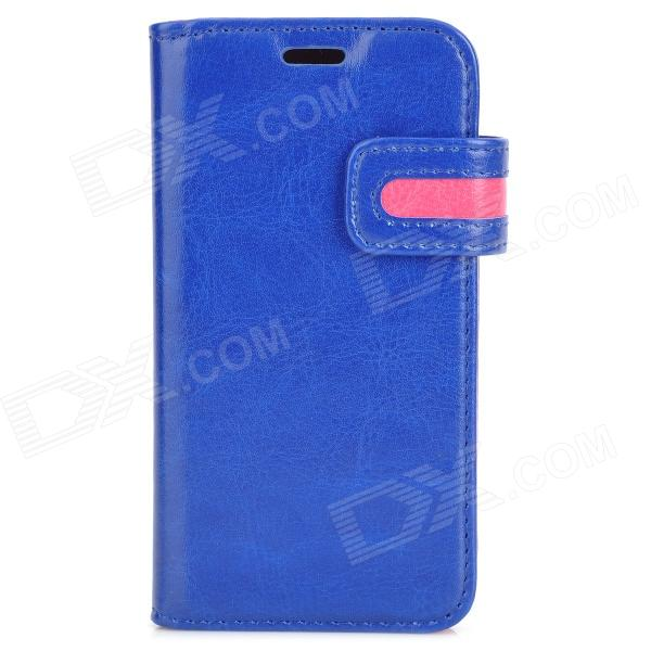 Protective PU Leather Case for Samsung Galaxy S4 Mini i9190 - Blue + Deep Pink lychee pattern pu leather case w card holder slots for samsung galaxy s4 mini i9190 deep pink
