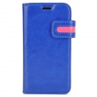 Protective PU Leather Case for Samsung Galaxy S4 Mini i9190 - Blue + Deep Pink