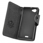 Protective Flip-open PU Leather Case w/ Card Slots for Sony ST26i - Black