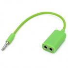 3.5mm Male to Dual 3.5mm Female Audio Adapter Cable - Green (18cm)