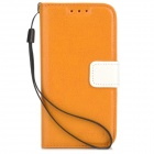 Protective PU Leather Case w/ Card Slots for Samsung Galaxy S4 Mini - Orange