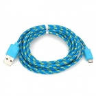USB 2.0 to Micro USB Nylon Woven Data/Charging Cable for N7100 / i9300 / V8 - Blue + Yellow